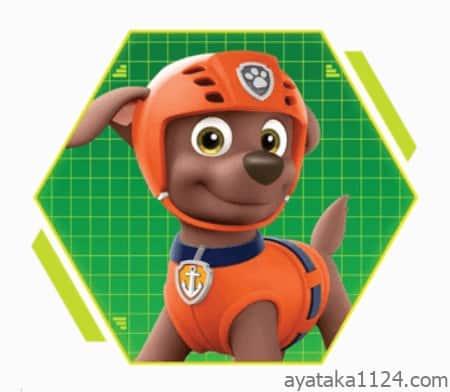 パウ・パトロール│キャラクターの名前とイラストを紹介。パウパトロールのお調子者「ズーマ」。ズーマの犬種は「ラブラドール・レトリバー」